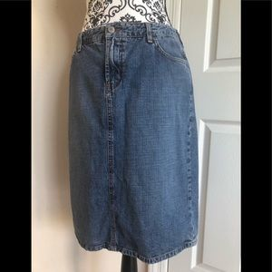 """Lucky Brand """"Stone-Washed"""" Denim Jean Skirt."""